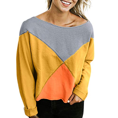 Strapless Patchwork Blouse Pullover Sweatshirt Rawdah Yellow Fashion Women Long T Sleeve Shirt qZ1XHExw1