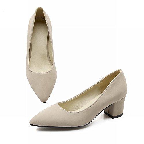 9f31eac5281f Mee Shoes Damen Geschlossen spitz Nubukleder chunky heels Pumps Beige ...