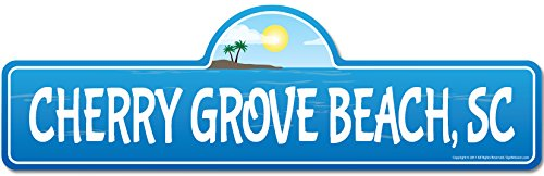 SignMission Cherry Grove, SC South Carolina Beach Street Sign | Indoor/Outdoor | Surfer, Ocean Lover, Décor For Beach House, Garages, Living Rooms, Bedroom Personalized Gift