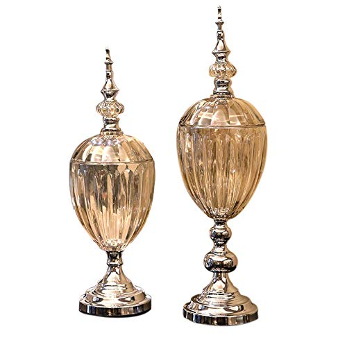 Quneasa Classical European Alloy Glass Vase Model Room Home Craft Jewelry Set Creative Piggy Bank Decoration