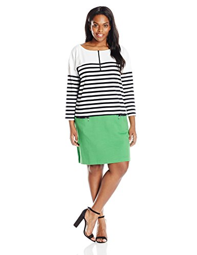 Joan Vass Women's Plus Size Striped Cotton Dress with Zippers, Green, 1X