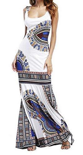 Color White Femenina tamaño Unko Pequeño uninukoo Sundress Maxi Club Africano Ropa Print Haokan Dashiki XX Bodycon Cóctel WOUS7wn6H