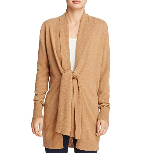 (Theory Womens Scarf Trim Cashmere Cardigan Sweater Tan L)