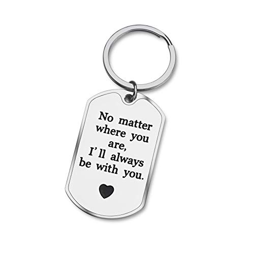Girlfriend Boyfriend Gifts, Long Distance Relationship Gifts for Best Friend BFF Sisters, No Matter Where Keychain for Wife Husband Couples, Valentines Birthday Jewelry for Women Men Her Him Mom Dad