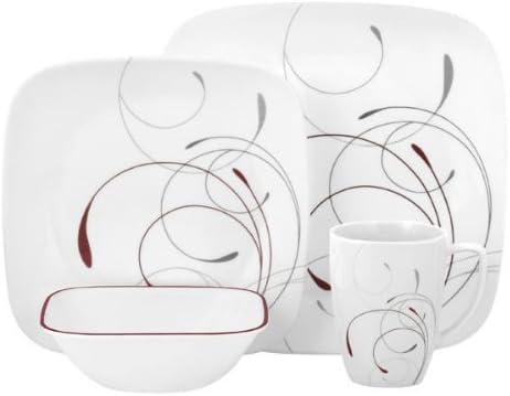 Corelle Dinnerware Set Dining Service For 4 Dish Square 16 Piece Splendor White