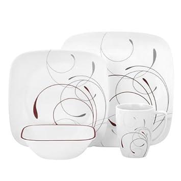 Amazon.com | Corelle Square 16 Piece Dinnerware Set, Splendor, Service For  4: Dinner Plates: Dinnerware Sets