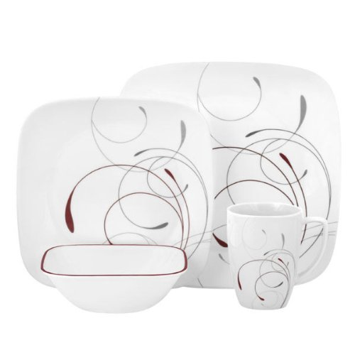 Corelle Square 16-Piece Dinnerware Set, Splendor, Service for 4 (Lightweight Dinnerware Sets)