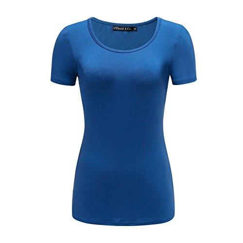 OThread & Co. Women's Short Sleeve T-Shirt Scoop Neck Basic Layer Spandex Shirts (Medium, Royal Blue)]()