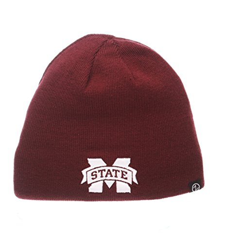 Knit Beanie Reversible Maroon (ZHATS NCAA Mississippi State Bulldogs Adult Men Edge Reversible Beanie, Adjustable, Team Color)
