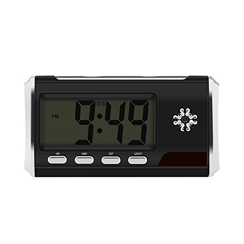 ra Alarm Clock Motion Detection Full 1080P HD Loop Video Recording Webcam Remote Control, Black (Desk Clock Camera)
