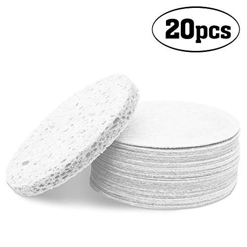Compressed Facial Sponge Cellulose Cleansing Sponges Natural Cleaning Sponge For Face Neck Body Reusable Makeup Remover Cosmetics Use (20 Pcs, White)