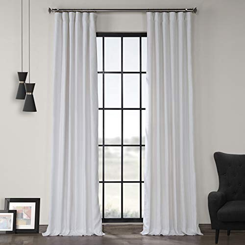 LN-XS1704-96 French Linen Curtain, Crisp White, 50 x 96
