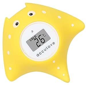 Baño de bebé y termómetro de habitación Acculove, termómetro de baño flotante para bañera y piscina, Cartoon Fish de Yellow Fish, juguetes ...