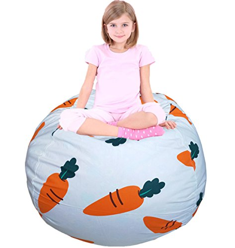 """EDCMaker Stuffed Animal Bean Bag - Toy Organizer & Comfy Chair, Best Creative Option Storage Solution for Plush Toys, Blankets, Towels & Clothes, Cartoon Carrot - 48"""""""