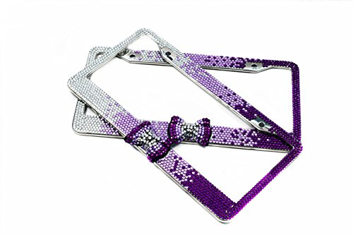ion 8 Row Gradient Purple Bow Bling Crystal Car License Plate Frame Cute Waterproof Rhinestone SUV License Plate Holder Stainless Steel Truck Plate Frame(2 Frames) (Car Truck Suv License Plate)