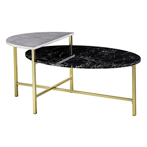 - Holly & Martin Bickly 2-Level Cocktail Table - Matte Gold w/ Black and White Faux Marble