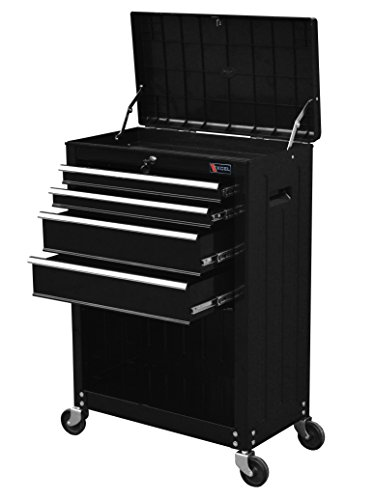 Roller Tool Cabinet with 4 Ball Bearing Drawers, 22in, Black (Excel Roller Cabinet)