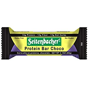 Seitenbacher Chocolate Covered Protein Bar, Chocolate, 12 Count