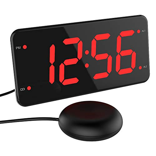 LIELONGREN Extra Loud Digital Alarm Clock with Bed Shaker, Dual Alarm, USB Charger, 2-Inch LED Display, Full Range Dimmer, Snooze, Battery Backup - Red