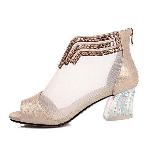 Allhqfashion Kvinners Peep Toe Saueskinn Kattunge Hæler Solide Sandaler Med Glass  Diamond Aprikos ...