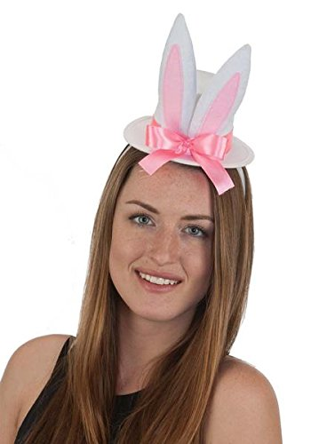 [Jacobson Hat Company Felt Bunny Hat Headband] (White Top Hat Fascinator)
