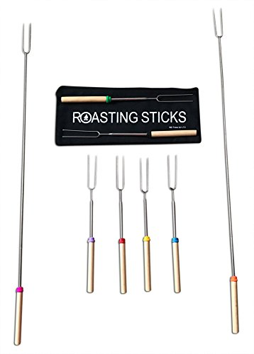 Extending Marshmallow Roasting Sticks 32 Inch Set of 8 Telescoping Stainless Steel Smores Skewers and Hot Dog Forks Long Camping Cookware and Fire Pit With Canvas Bag Safe For Kids