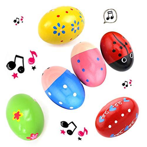 SallyFashion Wooden Percussion Musical Egg Maracas Egg Shakers, 6 PCS, Random Pattern, Halloween Props
