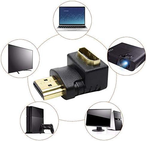 HZHIYU01 HDMIケーブルアダプタコンバータ1080P HDTVケーブルアダプタコンバータExtender用のHDMIメス90分の270度の角度HDMIオス (Size : 90 degree)