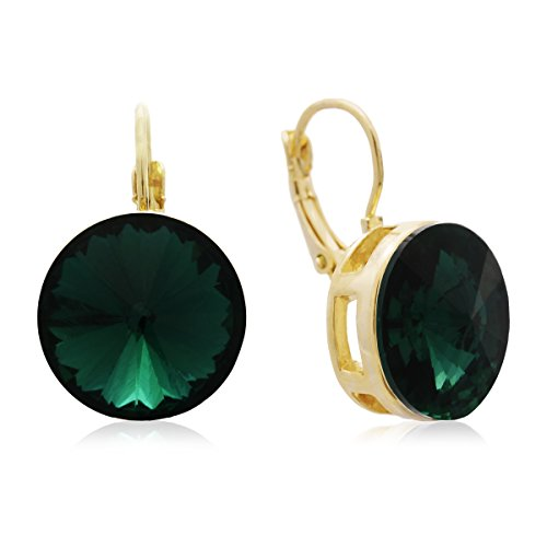 - Green Crystal Drop Earrings | Available in Red, Green and Clear | Drop Earrings for Women| by Sparkle Bargains