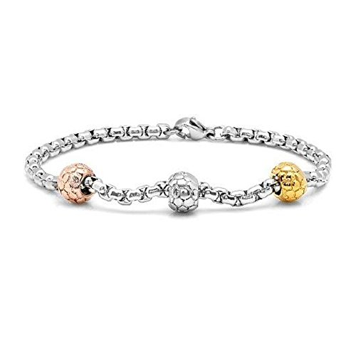 (Gem Stone King 7 1-4inches Rollo Chain Bracelet with 3 Pantera Design Tri Color Plated Beads)