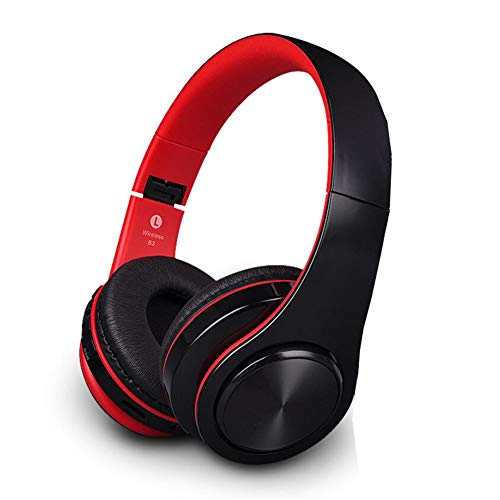 Wireless HiFi Bluetooth Headphones with 3.5mm Audio Cable - Foldable Stereo HD Noise Reduction Earphones - Super Bass Headset with SD Card Slot (Red)
