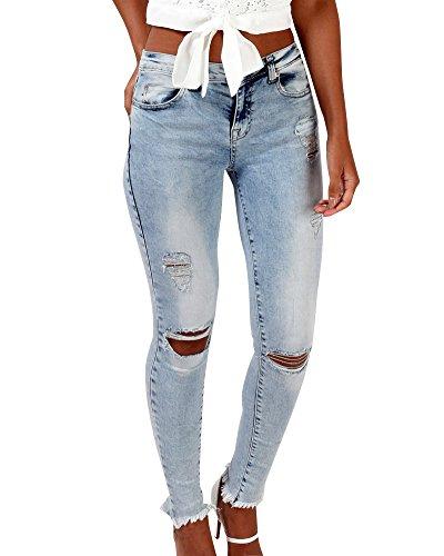 Skinny Strappati Jeans Del Donne Pantaloni Legging Matita ZhuiKun Slim Femminili Stirata Azzurro Ginocchio fwvAC5xq