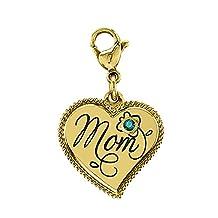 Esty & Me Yellow Tinted Stainless Steel Mom Dangle Heart Charm w/Swarovski Birthstone