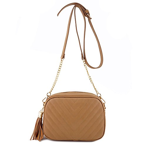 Simple Shoulder Crossbody Bag With Metal Chain Strap And Tassel Top Zipper (Lt Brown)