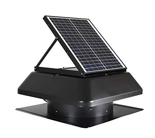 (iLIVING Smart Exhaust Solar Roof Attic Exhuast Fan, 14, Black)