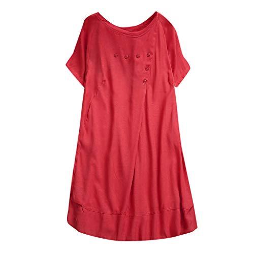 Kawaiine Women Summer Casual T Shirt Dresses A Line Swing Simple Multicolor Midi Dress Plus Red ()