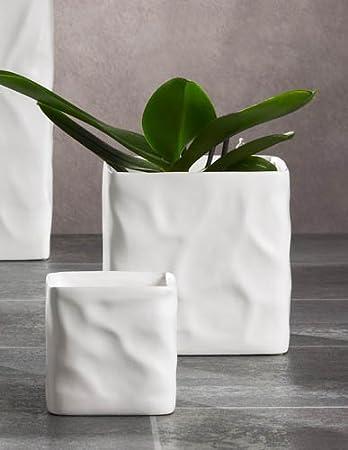 Kaheku Blumentopf Übertopf Kübel Carta eckig weiß Keramik 16 x 16 x ...
