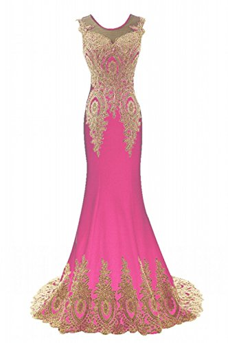 LiCheng Bridal Women Gold Lace Embroidery Long Evening Dresses Sleeveless Mermaid Prom Gowns Hot Pink US4