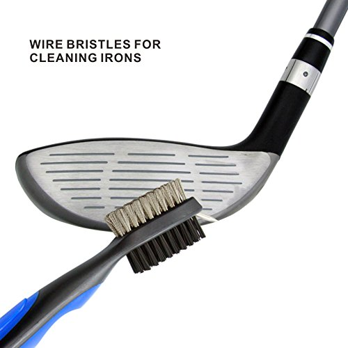 Udyr Golf Brush Club Groove Cleaner with 2 Ft Retractable Zip-line Aluminum Carabiner Set of 2, Black and Blue by Udyr (Image #4)