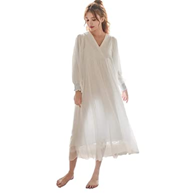 Womens Victorian Vintage Nightgown Princess Sleepwear Long Sleeve Lace  Pajama Lace Nightdress Robe (Light Blue 5d720fed7