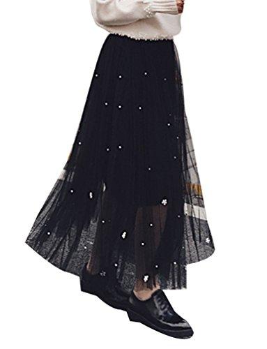 Femme Chic Jupe Longue Casual Plisse En Maill vase Plisse Jupe Taille Haute Vintage Dress Noir