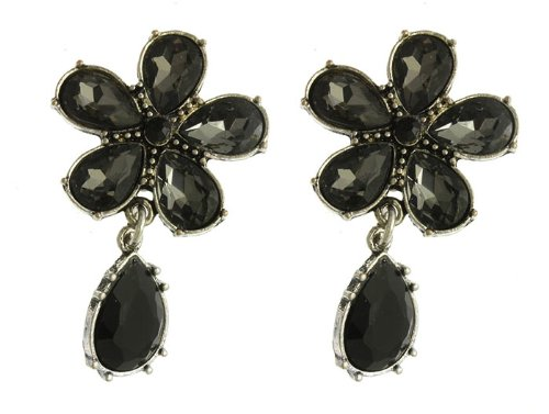 - Bunnyberry Gifts Earring/Post PIN/Flower/Teardrop/Texture Metal/Glass Bead/Lucite Bead/1 3/4 INCH Drop/Nickel and Lead Compliant