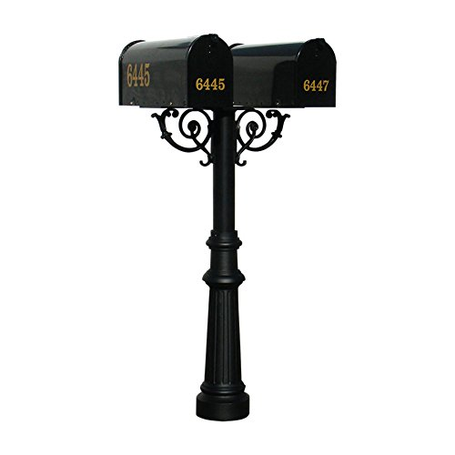 2 Mounting Base (The Hanford Cast Aluminum Twin Mailbox Post System with Fluted Base, 2 E1 Mailboxes, Mounting Brackets and Scroll Supports, Ships in 2 boxes)