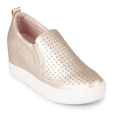 Wanted Torrey Slip On Wedge Fashion Sneaker – (Gold, 6.5)