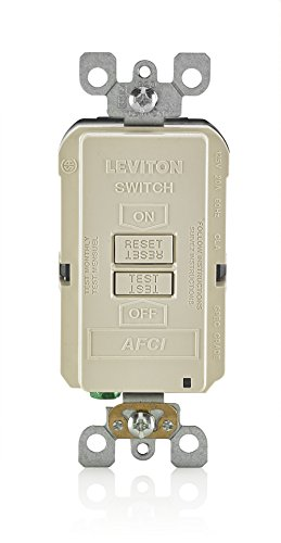 Leviton AFRBF-T 20-Amp 120-volt SmartlockPro Outlet Branch Circuit Arc Fault Circuit Interrupter Blank Face Receptacle, Light Almond
