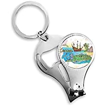 City Cancun Mexico Island Mayan Temple Watercolor Key Chain Ring Toe Nail Clipper Cutter Scissor Tool Kit Bottle Opener Gift