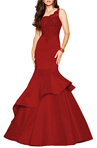 Women's One-Shoulder Beaded Long Formal Evening Dress Mermaid Taffeta Prom Gown Size 4 ()