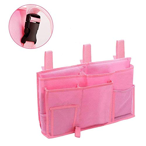Bedside Caddy Improved With 3 POM Buckles -Hanging Organizer For Phone, Tablet, Accessory&TV Remote - Best For Dorm Room, Bunk Bed, Hospital Bed, Bed Rail, Headboard, Apartment, Bathroom&Travel (Pink)