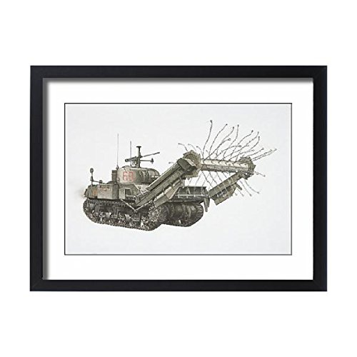 Sherman Crab Tank - Framed 24x18 Print of American Sherman Crab, army tank with chains spinning on a (13561477)