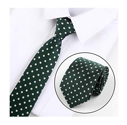 Men Hunter Green Polka Dot Silk Tie Jacquard Self Cravat Fashion Business Attire